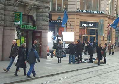 Some filming being done in the centre of Helsinki.