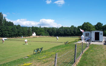 Photo of the croquet lawns at CERN in Geneva on a sunny day