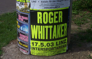 Photo of a poster advertising a Roger Whittaker concert in Linz.
